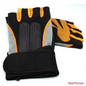 Sarung Tangan Half Finger Sepeda Fitnes Size L - Black/Orange - 3