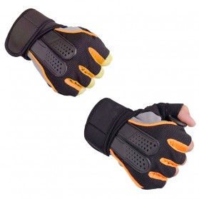 Sarung Tangan Half Finger Sepeda Fitnes Size L - Black/Orange - 4