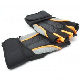 Sarung Tangan Half Finger Sepeda Fitnes Size L - Black/Orange - 6