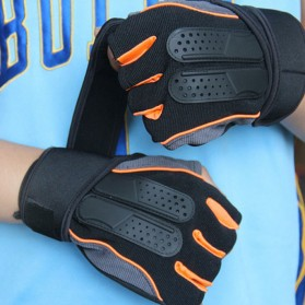 Sarung Tangan Half Finger Sepeda Fitnes Size L - Black/Orange - 8