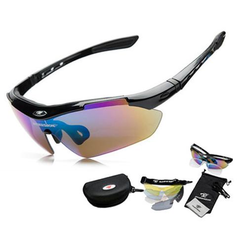 ROBESBON Kacamata Sepeda dengan 5 Lensa Myopia - Black - 1 .