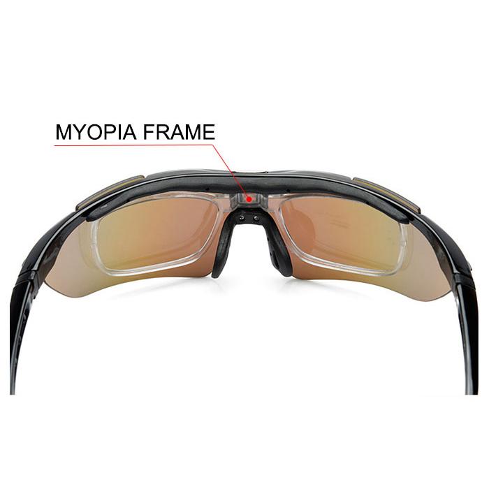 ROBESBON Kacamata Sepeda dengan 5 Lensa Myopia - Black - 5 .