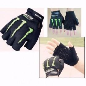 Sarung Tangan Motor Half Finger Monster Energy - Black - 2