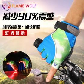 Sarung Tangan Half Finger Sepeda dengan Lampu LED - Mix Color