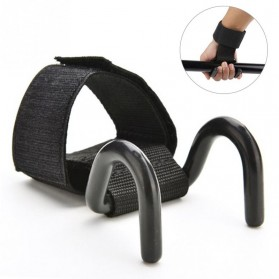 Strap Tangan Angkat Beban Adjustable Hook Grip Weight Lifting Strength Training 2 PCS - F3002 - Black