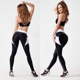 Legging Gym Fitness Wanita Size L - Black White - 3