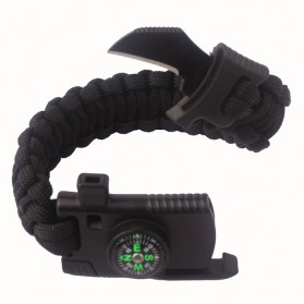 EDC Multifunction Gelang Kompas Peluit Pisau Survival Tools - Black