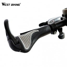 TaffSPORT West Biking Gagang Sepeda Rubber Ergonomic Grip MTB Handlebar - BT1001 - Black
