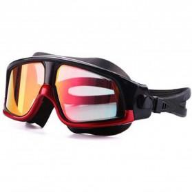JOUYOU Kacamata Renang Diving Snorkling Large Frame Anti Fog UV Protection -  E0735-01 - Black/Red - 2
