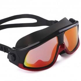 JOUYOU Kacamata Renang Diving Snorkling Large Frame Anti Fog UV Protection -  E0735-01 - Black/Red - 3