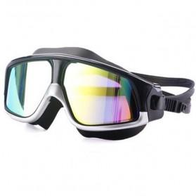 JOUYOU Kacamata Renang Diving Snorkling Large Frame Anti Fog UV Protection -  E0735-01 - Black/Silver - 2