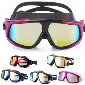 JOUYOU Kacamata Renang Diving Snorkling Large Frame Anti Fog UV Protection -  E0735-01 - Black/Silver - 4