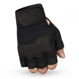 JIUSUYI Sarung Tangan Tactical Half Finger Sporting Gloves Size L - A6 - Black