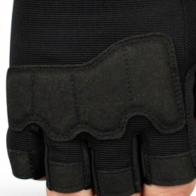 JIUSUYI Sarung Tangan Tactical Half Finger Sporting Gloves Size L - A6 - Black - 5