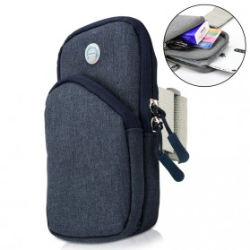 Universal Sport Armband Canvas Bag untuk Smartphone - Navy Blue
