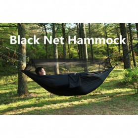 Hammock Parasut Ultralight dengan Net Anti Nyamuk - Black
