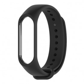 Silicone Strap Watchband untuk Xiaomi Mi Band 3 (Replika 1:1) - Black