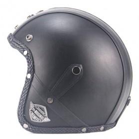 Helm Classic Mod Half Face Motor Klasik - Size L - Black - 2