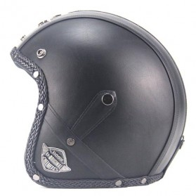 Helm Classic Mod Half Face Motor Klasik - Size XL - Black - 2