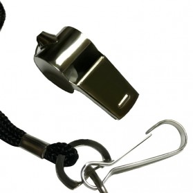 Peluit Wasit Classic Bahan Metal Whistle dengan Lanyard - Silver - 7