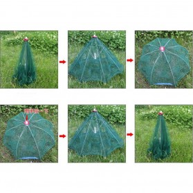 Jaring Pancing Ikan Udang Automatic Folding Umbrella Fishing Net Cage 4 Holes - 3