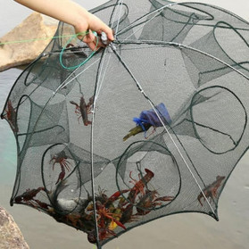 Jaring Pancing Ikan Udang Automatic Folding Umbrella Fishing Net Cage 4 Holes - 5