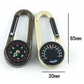 Carabiner Multifungsi dengan Kompas Thermometer - D12605 - Army Green - 5