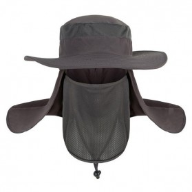 Topi Anti UV Matahari Fishing Hat Round Edge - Black