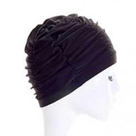 GaoJiYongMao Topi Penutup Kepala Renang Wanita Swim Cap - 1GF - Black - 3