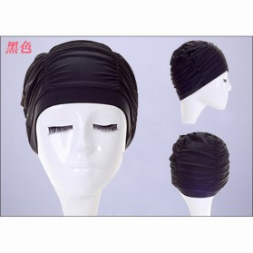 GaoJiYongMao Topi Penutup Kepala Renang Wanita Swim Cap - 1GF - Black - 4