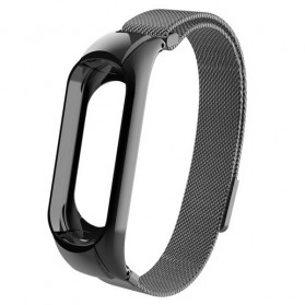 Trendybay Milanese Strap Watchband Stainless Steel for Xiaomi Mi Band 3 - CBXM309 - Black