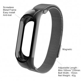 Trendybay Milanese Strap Watchband Stainless Steel for Xiaomi Mi Band 3 - CBXM309 - Black - 4
