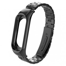 Trendybay Watchband 3 Point Strap Stainless Steel for Xiaomi Mi Band 3 - CBXM315 - Black