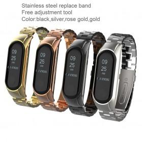 Trendybay Watchband 3 Point Strap Stainless Steel for Xiaomi Mi Band 3 - CBXM315 - Black - 2