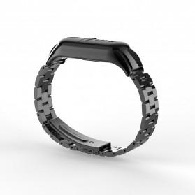 Trendybay Watchband 3 Point Strap Stainless Steel for Xiaomi Mi Band 3 - CBXM315 - Black - 3