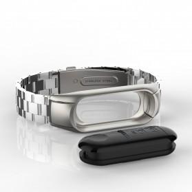 Trendybay Watchband 3 Point Strap Stainless Steel for Xiaomi Mi Band 3 - CBXM315 - Black - 9