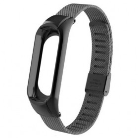 Double Buckle Mesh Strap Watchband Stainless Steel for Xiaomi Mi Band 3 - CBXM321 - Black