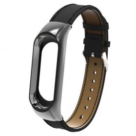 Trendybay Strap Watchband Kulit PU Leather for Xiaomi Mi Band 3 - CBXM328 - Black