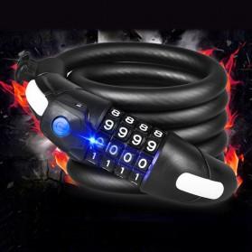 Gembok Sepeda Kombinasi Angka 4 Digit LED Light Anti-Theft Chain Lock - TY-732 - Black - 5