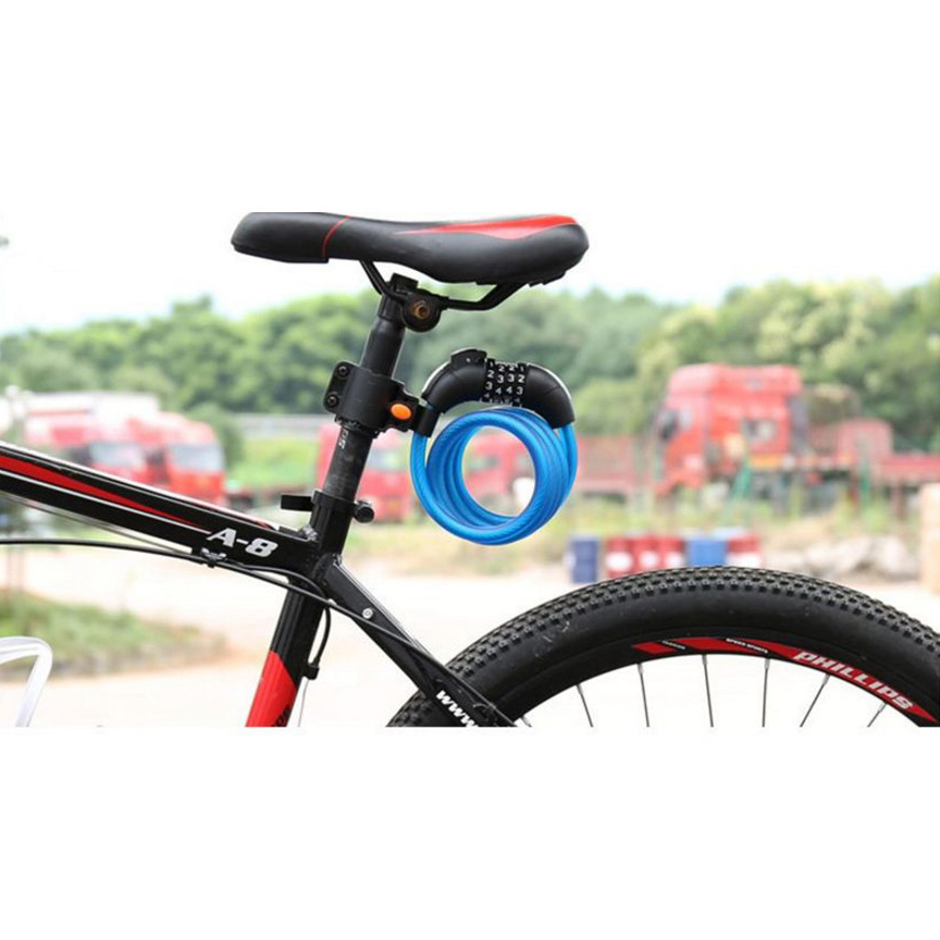 Gembok Sepeda Kombinasi Angka 4 Digit LED Light Anti-Theft