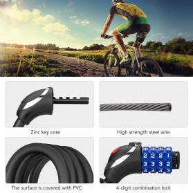 TONYON Gembok Sepeda Kombinasi Angka 4 Digit LED Light Anti-Theft Chain Lock - Z8082 - Black - 4