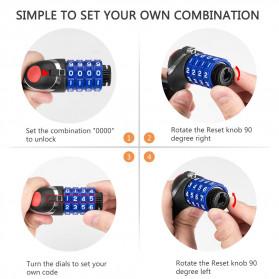 TONYON Gembok Sepeda Kombinasi Angka 4 Digit LED Light Anti-Theft Chain Lock - Z8082 - Black - 5