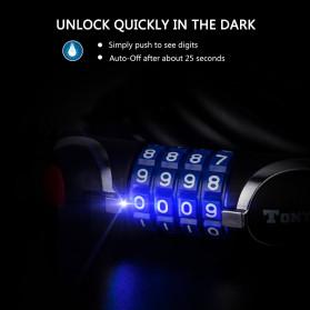 TONYON Gembok Sepeda Kombinasi Angka 4 Digit LED Light Anti-Theft Chain Lock - Z8082 - Black - 7