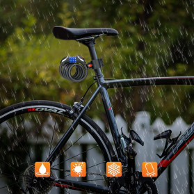 TONYON Gembok Sepeda Kombinasi Angka 4 Digit LED Light Anti-Theft Chain Lock - Z8082 - Black - 8