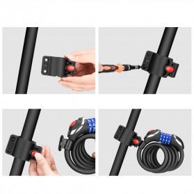 TONYON Gembok Sepeda Kombinasi Angka 4 Digit LED Light Anti-Theft Chain Lock - Z8082 - Black - 10