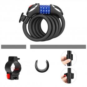 TONYON Gembok Sepeda Kombinasi Angka 4 Digit LED Light Anti-Theft Chain Lock - Z8082 - Black - 11
