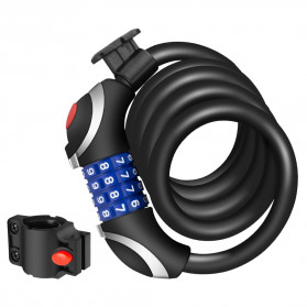 TONYON Gembok Sepeda Kombinasi Angka 4 Digit LED Light Anti-Theft Chain Lock - Z8082 - Black