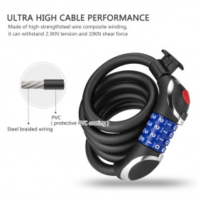 TONYON Gembok Sepeda Kombinasi Angka 4 Digit LED Light Anti-Theft Chain Lock - Z8082 - Black - 3