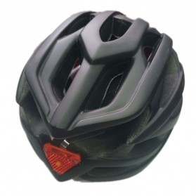 TaffSPORT Helm Sepeda Cycling Helmet EPS Foam PVC Shell LED Safety Light - XK07 - Black