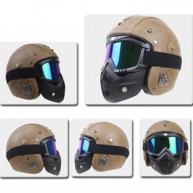 TaffSPORT BOLLFO Kacamata Goggles Mask Motor Retro Anti Glare Windproof WIDE - MT-01 - Black/Blue - 2